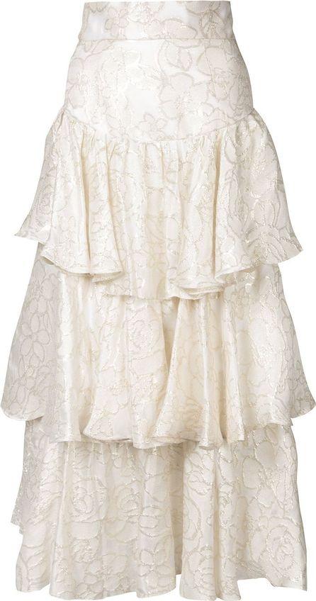 Bambah gold lamé ruffle skirt