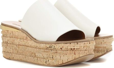 Chloe Leather and cork wedges