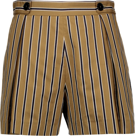 Sandro Pendy pleated striped cotton-blend shorts