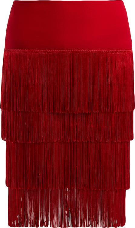 Norma Kamali Fringed tiered skirt