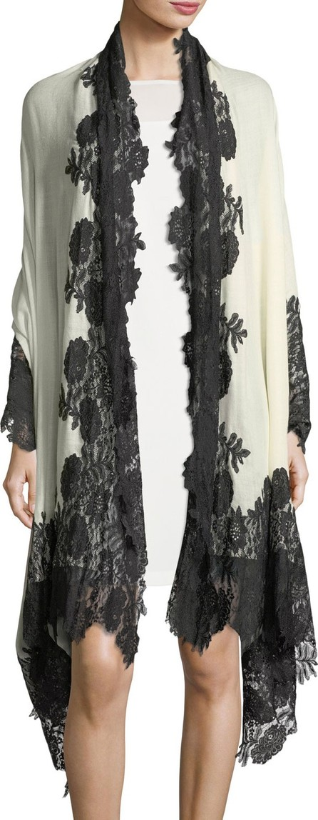 Bindya Cashmere Evening Stole Wrap w/ Lace Trim