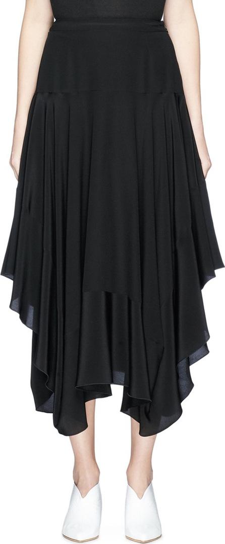 Stella McCartney Ruffle silk crepe midi skirt
