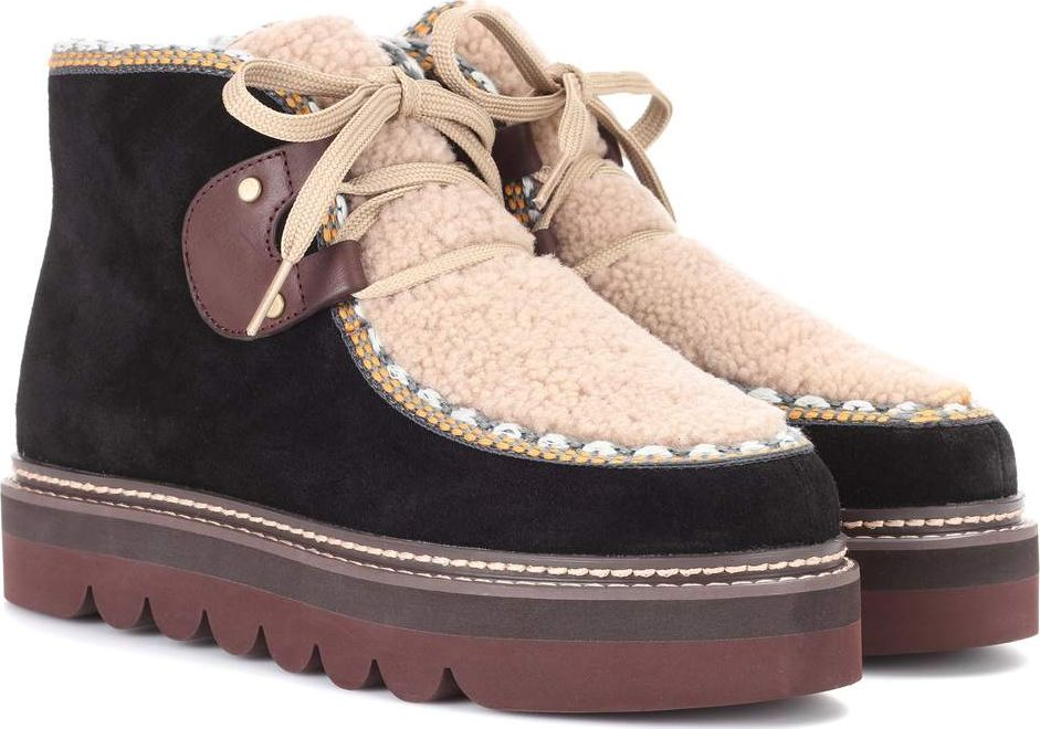 fff5bc62467 Suede and shearling ankle boots