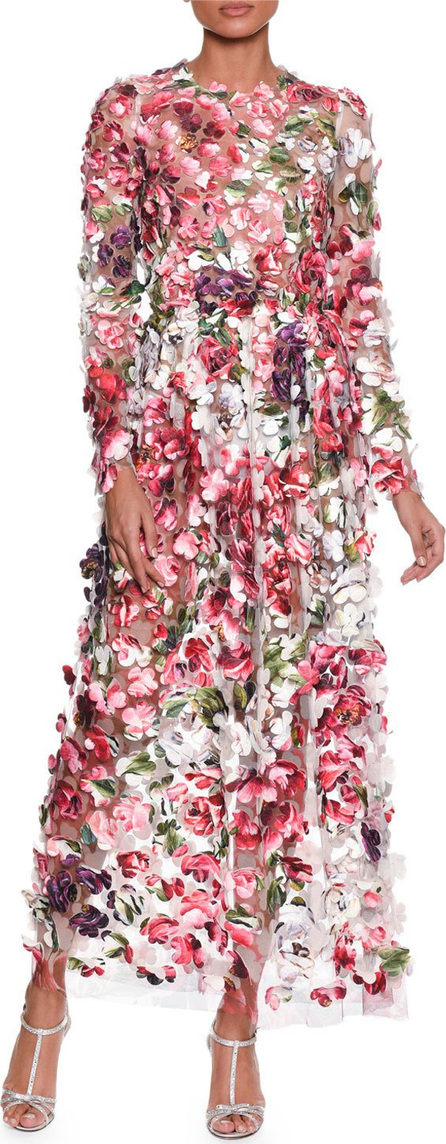 Dolce & Gabbana Long-Sleeve Embroidered Rose Peony Petals on Chiffon Gown