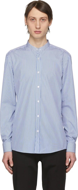BOSS Hugo Boss Blue & White Micro Stripe Jorris Banded Collar Shirt
