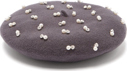 Benoît Missolin Pearl and crystal-embroidered wool beret