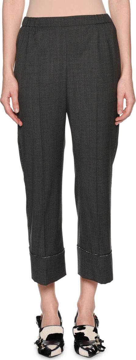 Nº21 Cropped Wool Beaded Straight-Leg Pants