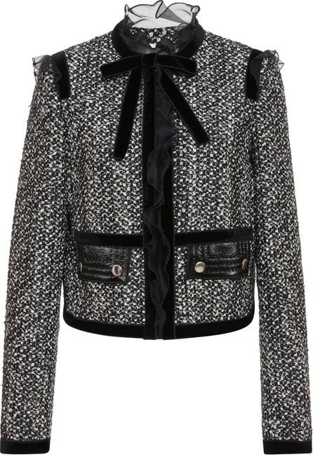 Giambattista Valli Ruffled Bow-Detailed Tweed Jacket