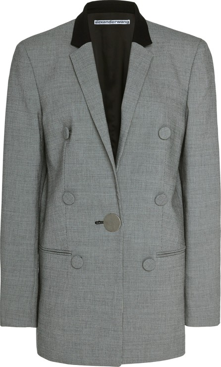 Alexander Wang Leather-Trimmed Houndstooth Wool Blazer