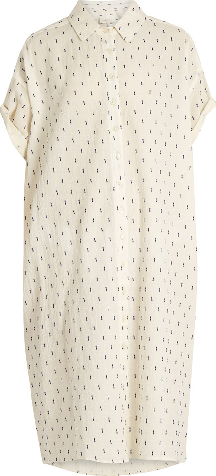 THE GREAT. The Camper dobby dot-embroidered cotton dress