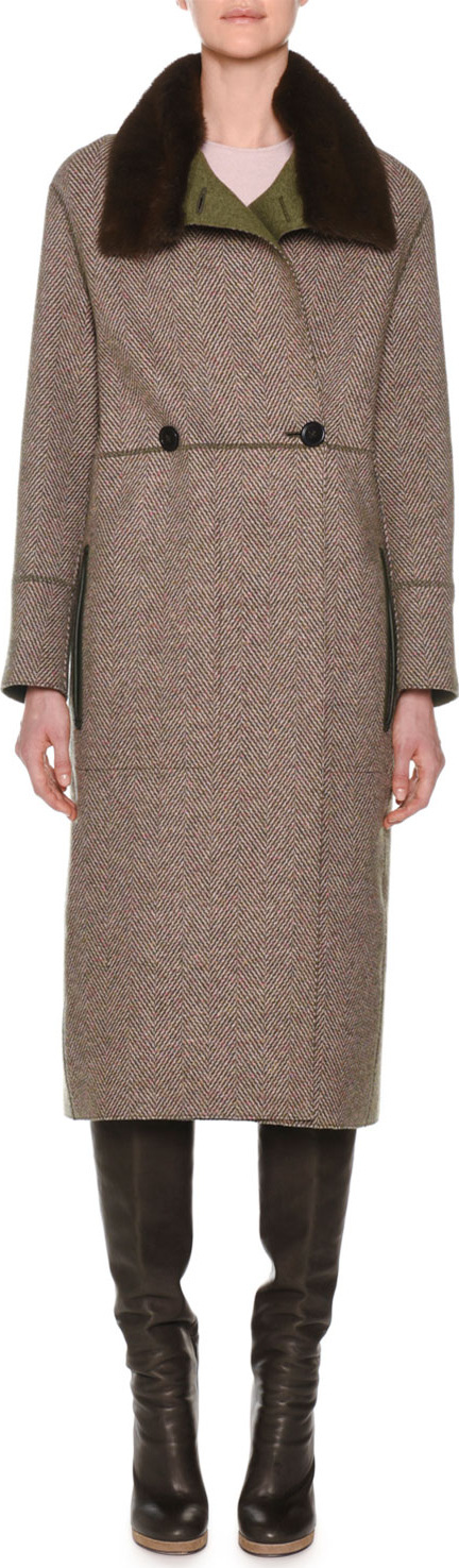 Agnona Double-Breasted Herringbone Cashmere Military Coat with Fur Collar