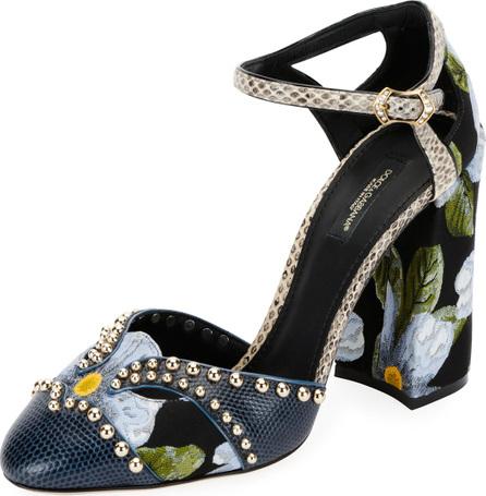 Dolce & Gabbana Studded Mixed-Media Block-Heel Pump