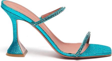 Amina Muaddi '''''''Gilda' crystal strap glitter heeled sandals