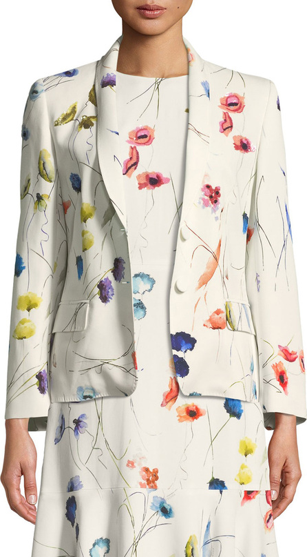 Escada Watercolor Floral-Print 2-Button Blazer w/ Sequins