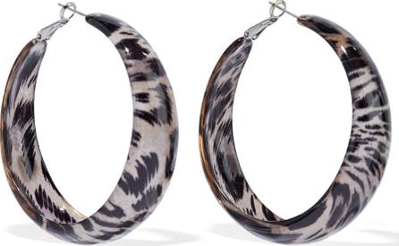 Kenneth Jay Lane Silver-tone leopard-print acrylic hoop earrings