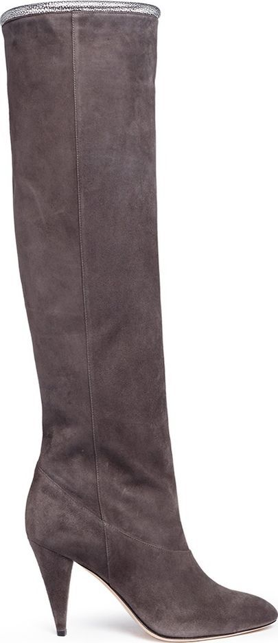 Alchimia Di Ballin 'Dysnoma' stingray effect piping chamois leather knee high boots