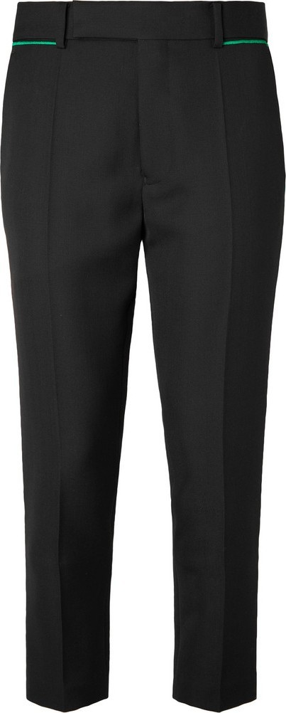 Haider Ackermann Black Slim-Fit Tapered Embroidered Virgin Wool Trousers