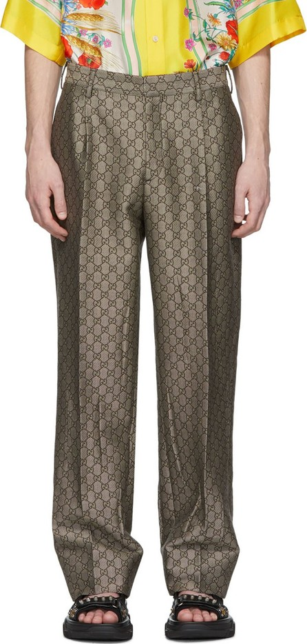 Gucci Brown & White GG Supreme Wool Trousers