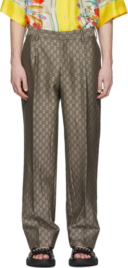 Gucci Brown & White GG Supreme Wool Trousers
