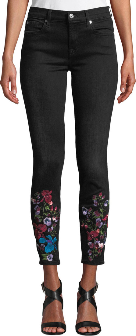 7 For All Mankind The Ankle Skinny Embroidered Jeans