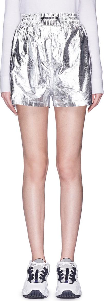 MSGM. x Diadora logo stripe outseam metallic track shorts