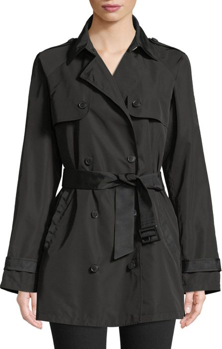 Emporio Armani Zip-Front Hooded Peplum Raincoat