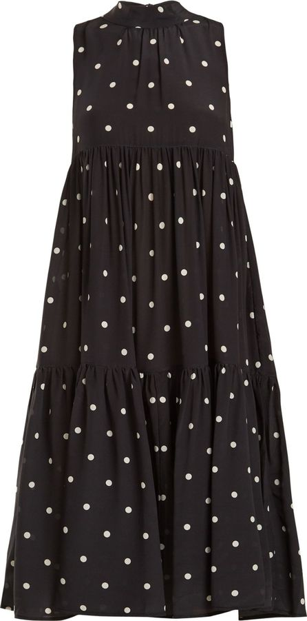 Asceno Neck-tie polka dot-print silk dress