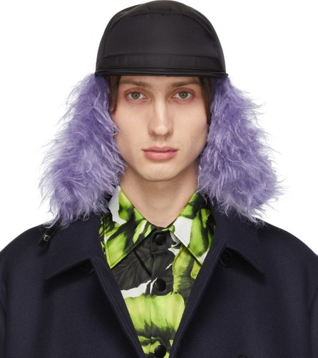 Prada Black & Purple Fur Flap Iris Cap