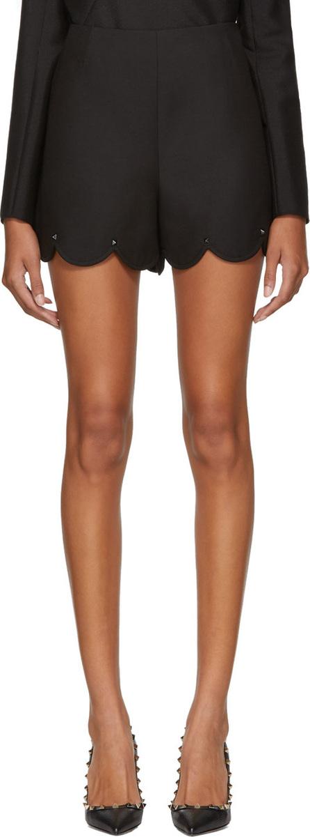 Valentino Black Crepe Rockstud Shorts
