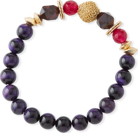 Akola Jade, Tiger's Eye, Bone & Glass Bead Bracelet w/ Accents