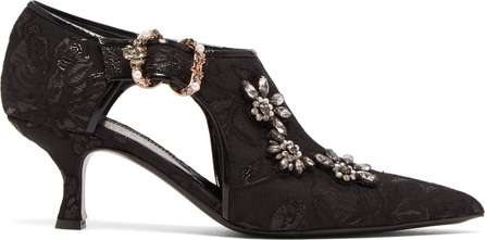 Erdem Marguerite jacquard faux-pearl and crystal pumps