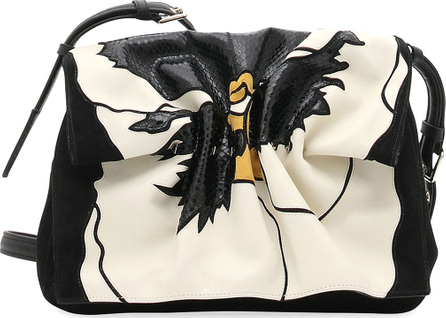 Valentino Bloomy Floral Lamb Leather & Snakeskin Shoulder Bag
