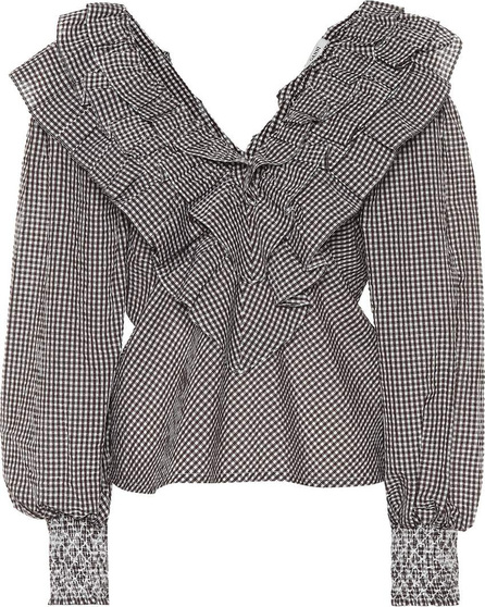 Ganni Charron gingham cotton-blend blouse