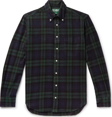 Gitman Vintage Button-Down Collar Black Watch Checked Brushed Cotton-Flannel Shirt