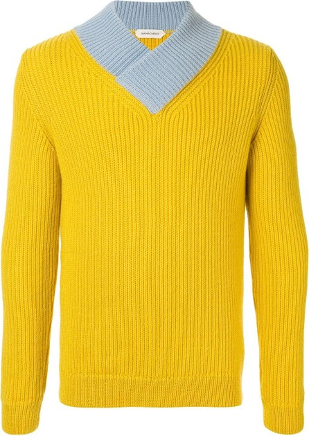 Namacheko Contrast-collar v-neck sweater