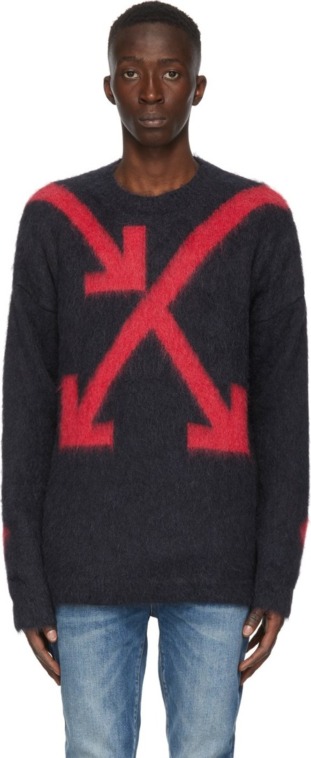 Off White Grey & Red Intarsia Arrows Sweater