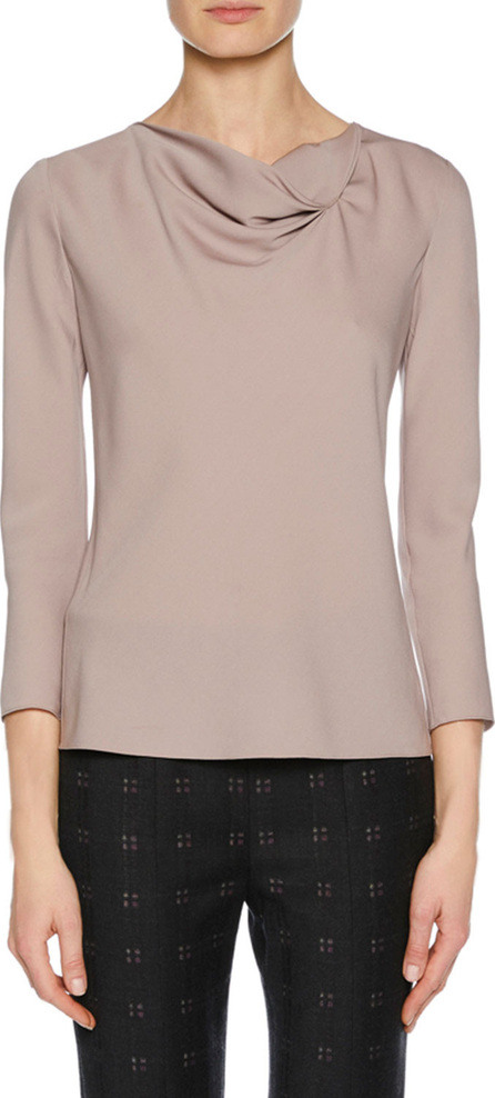 Giorgio Armani Draped-Neck Long-Sleeve Silk Blouse, Pink