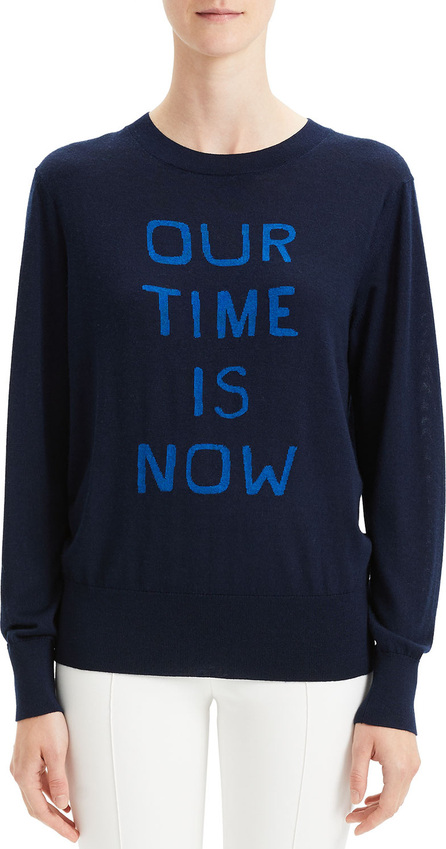 """Theory """"Our Time Is Now"""" Silk-Cashmere Intarsia Pullover Sweater"""