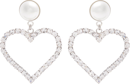 Alessandra Rich Crystal-embellished heart-drop earrings
