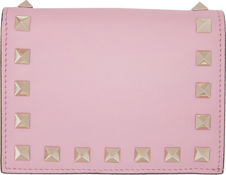 Valentino Pink Valentino Garavani Small Rockstud French Flap Wallet