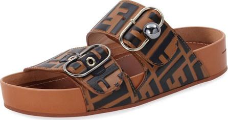 Fendi Pearland FF Leather Slide Sandal