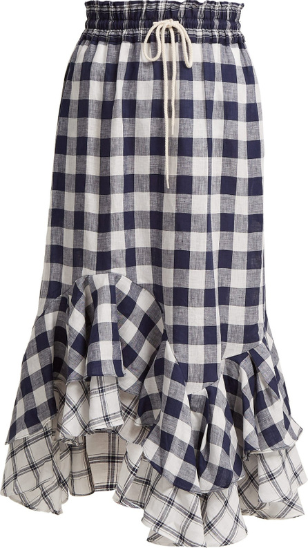 Lee Mathews Nellie gingham and checked linen skirt