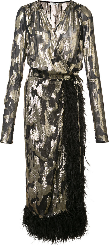 Attico Feathered detail jacquard dress