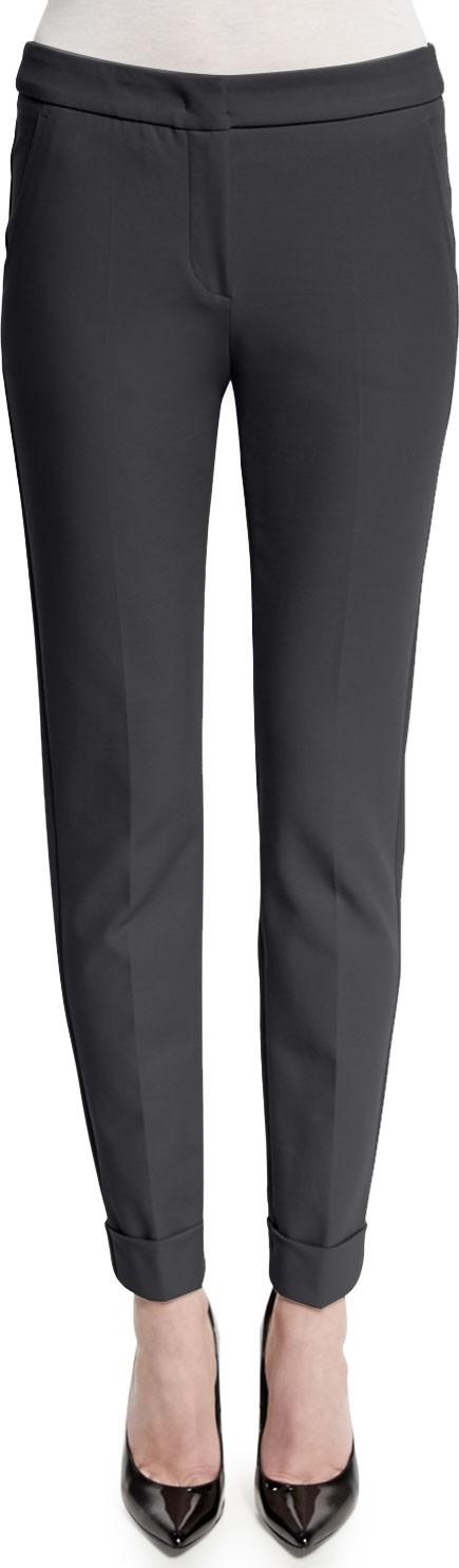 Armani Collezioni Stretch-Cuff Slim-Leg Ankle Pants, Storm Gray