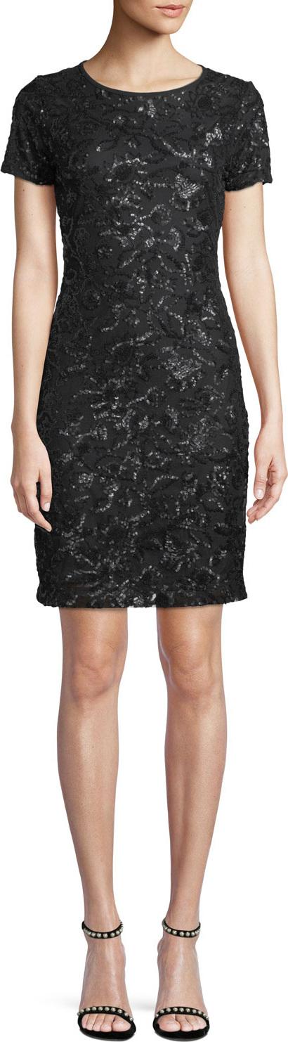 MICHAEL MICHAEL KORS Short-Sleeve Crewneck Sequin Sheath Dress