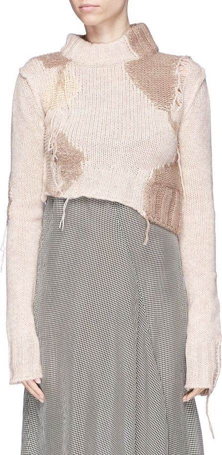 Acne Studios 'Olia' fringe intarsia patch cropped wool blend sweater