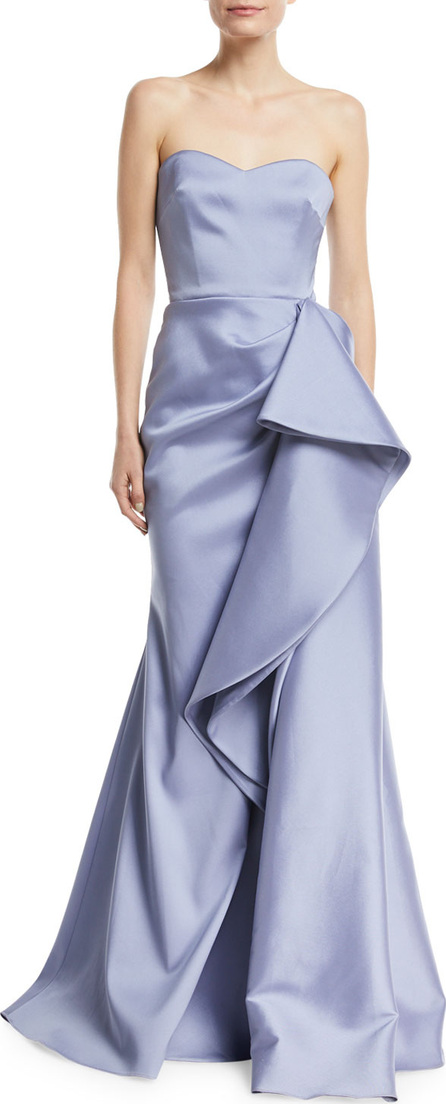 Badgley Mischka Strapless Mikado Bustier Gown w/ Asymmetric Ruffle