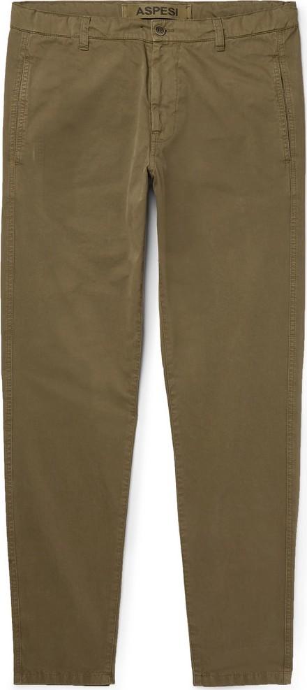 Aspesi Slim-Fit Tapered Garment-Dyed Cotton-Twill Drawstring Chinos