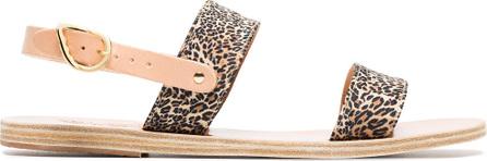 Ancient Greek Sandals Brown Dinami leopard print satin sandals