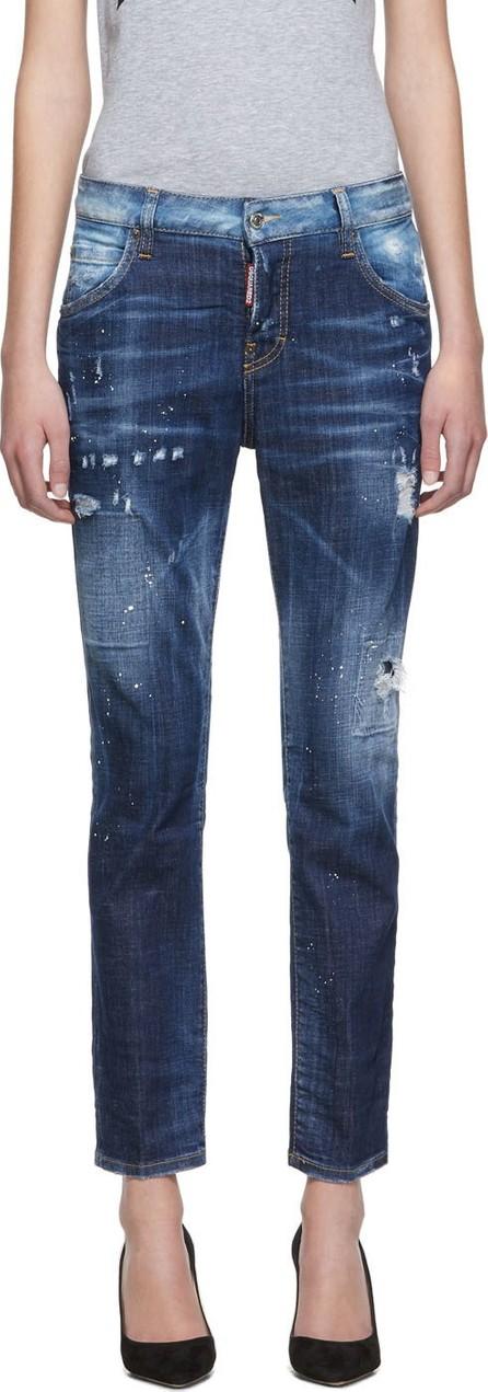 DSQUARED2 Blue Light Belt Under Patch Wash Cool Girl Jeans